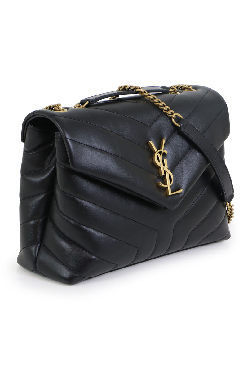 LOULOU SMALL FLAP BAG BLACK/GOLD