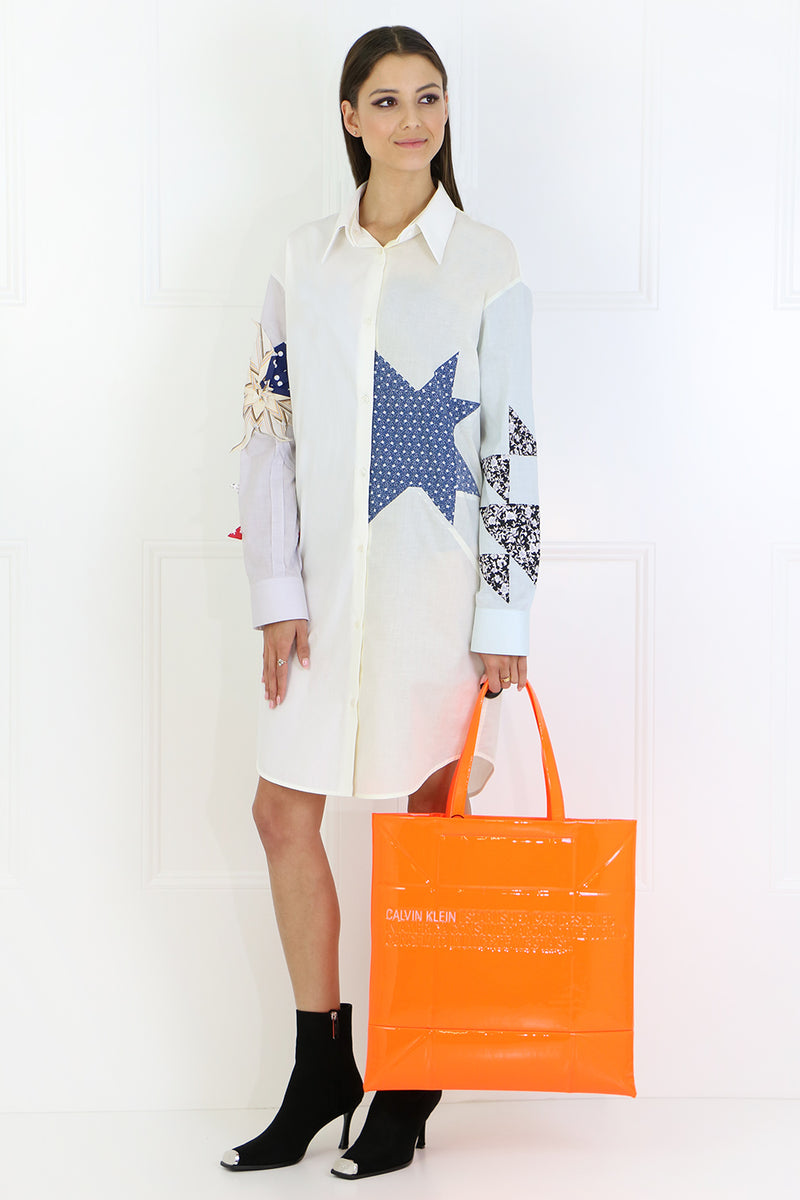 STAR PATCHWORK SHIRT DRESS L/S IVORY/OFF WHITE