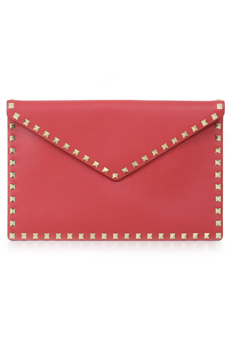 ROCKSTUD ENVELOPE POUCH SMOOTH LEATHER ROCK PINK