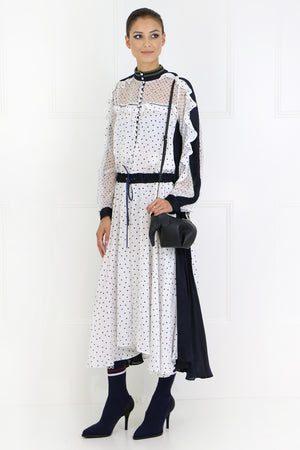 POLKADOT MAXI DRESS L/S WHITE