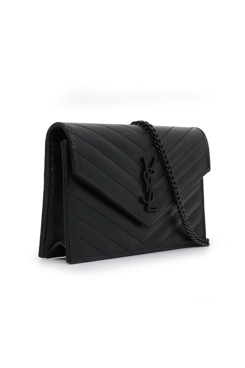 MONOGRAMME ENVELOPE QUILTED CHAIN WALLET BLACK/BLACK