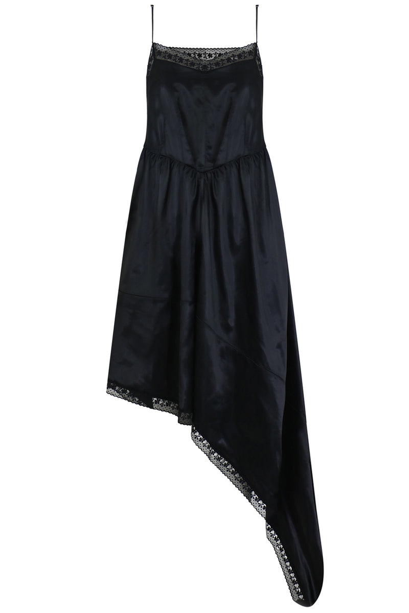 ASYMMETRIC DRESS WITH LACE DETAIL S/LESS BLACK