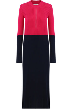 CONTRAST KNIT MIDI DRESS L/S PINK/NAVY