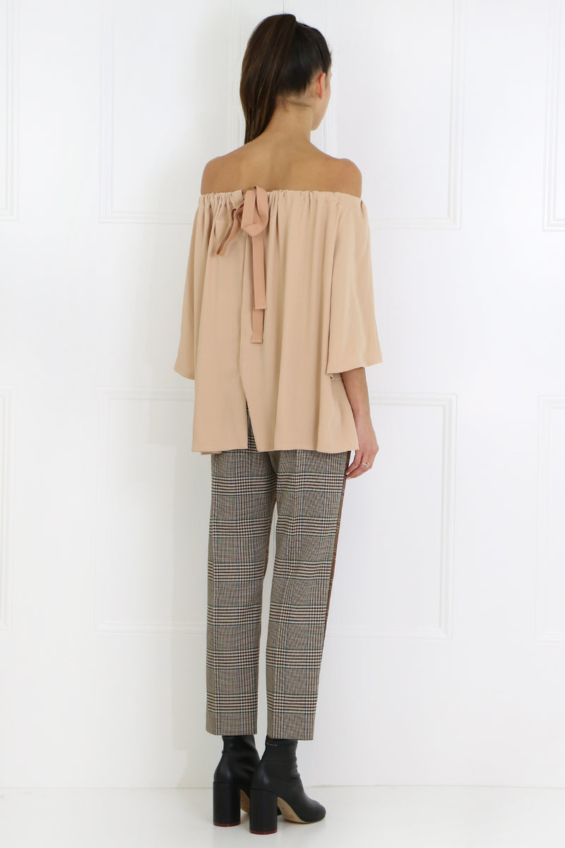 CONTRAST CHECK TAILORED PANT BROWN