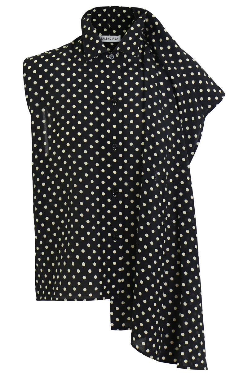 POLKADOT S/LESS BLOUSE BLACK/WHITE