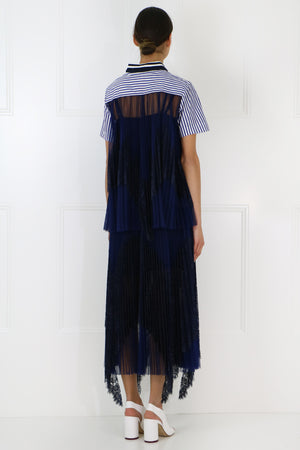 POPLIN SHIRT LACE BACK DETAIL S/S STRIPE BLUE