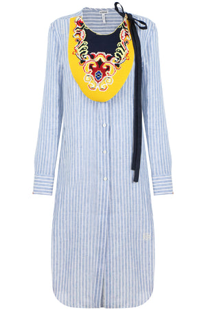 EMBROIDERED BIB SHIRT DRESS BLUE