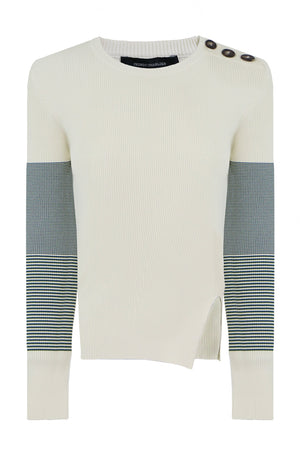 CONTRAST SLEEVE KNIT L/S CREAM/GREEN