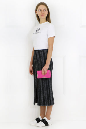 OTTOMAN STRIPE KNIT SKIRT BLACK WHITE