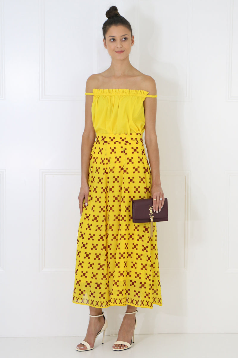 LATEICIA PLEATED SKIRT ZEPHIRE YELLOW