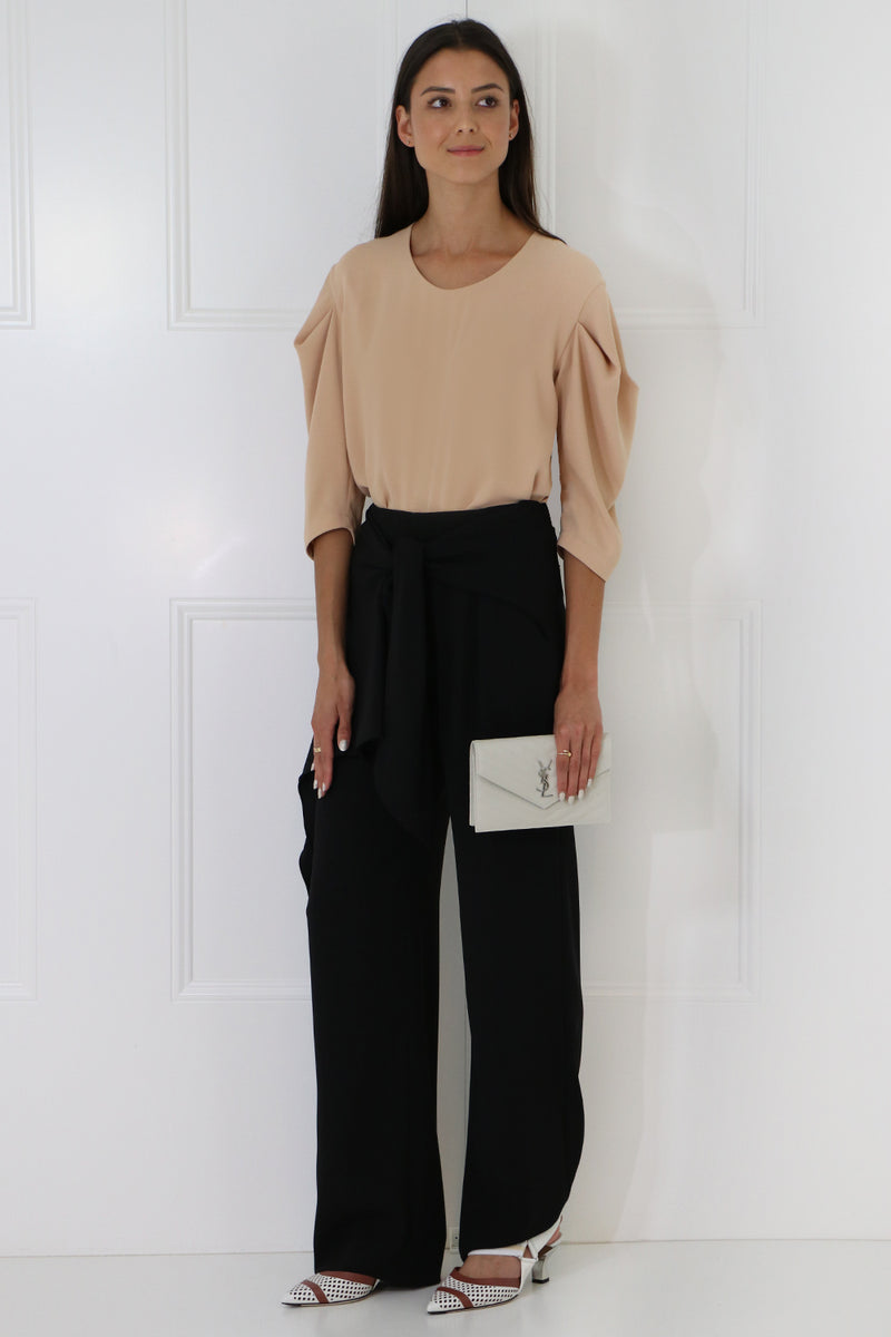 WRAP WIDE LEG PANTS BLACK