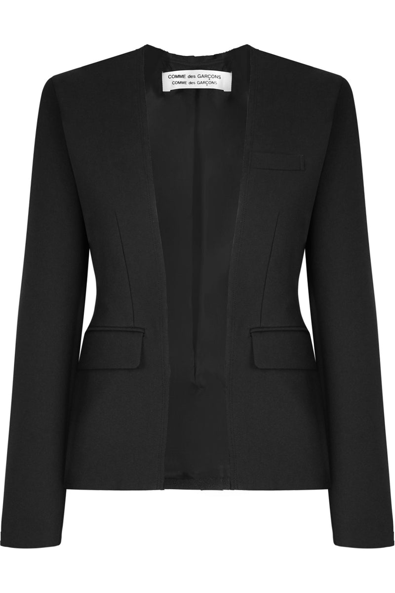 RAW FINISH COLLARLESS BLAZER BLACK