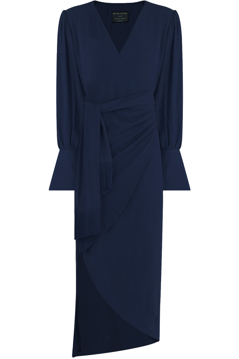 VELDA WRAP DRESS WITH FRINGE TIE L/S NAVY