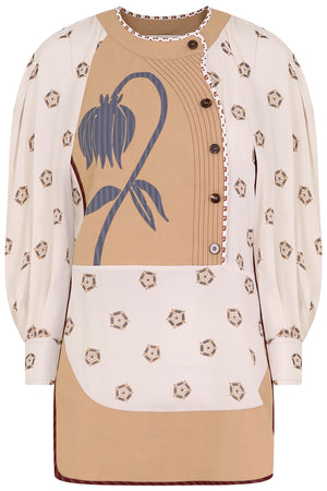 FLOWER PATCHWORK PRINT BLOUSE L/S SOFT WHITE