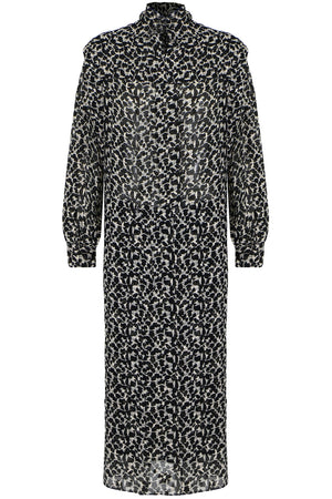 JULINEA PRINT MIDI DRESS L/S BLACK/ECRU