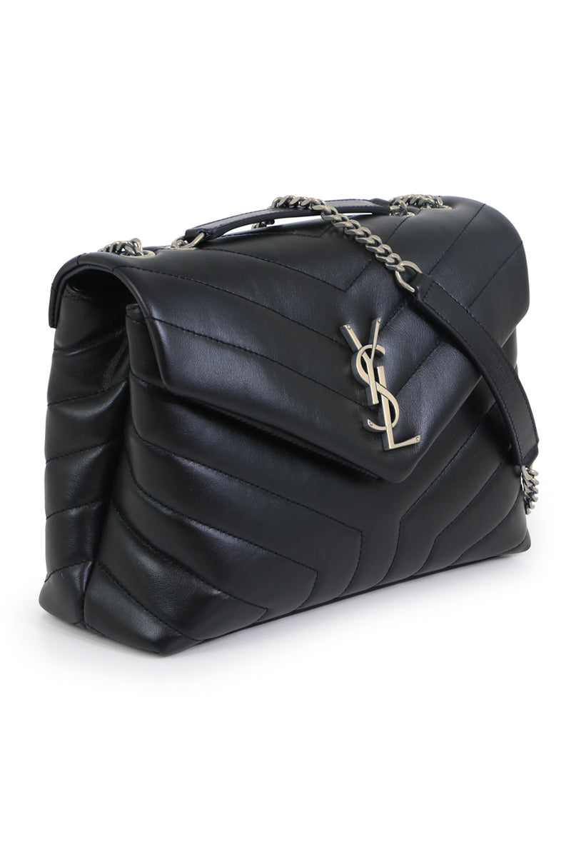 LOULOU SMALL FLAP BAG BLACK/SILVER