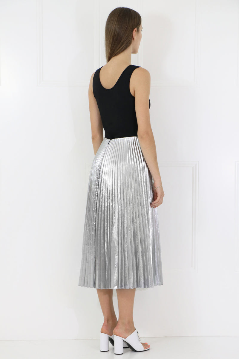 PLEATED KICK SKIRT SILVER