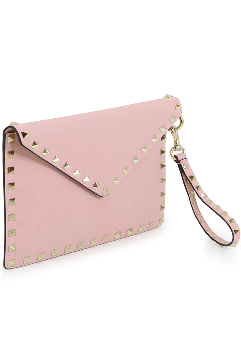 SMALL ROCKSTUD ENVELOPE POUCH SMOOTH LEATHER WATER ROSE