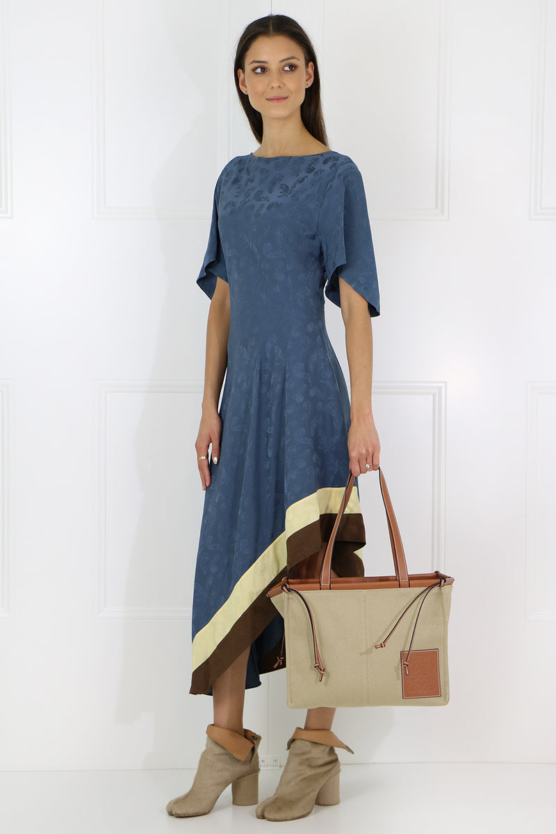 ASYMMETRIC JACQUARD DRESS S/S BLUE