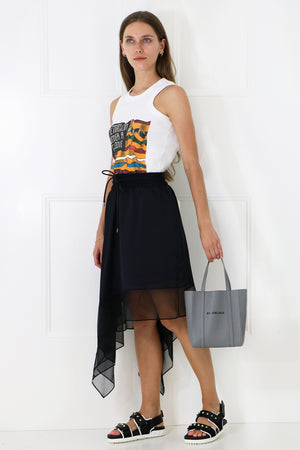 ASYMMETRIC SATIN SKIRT BLACK