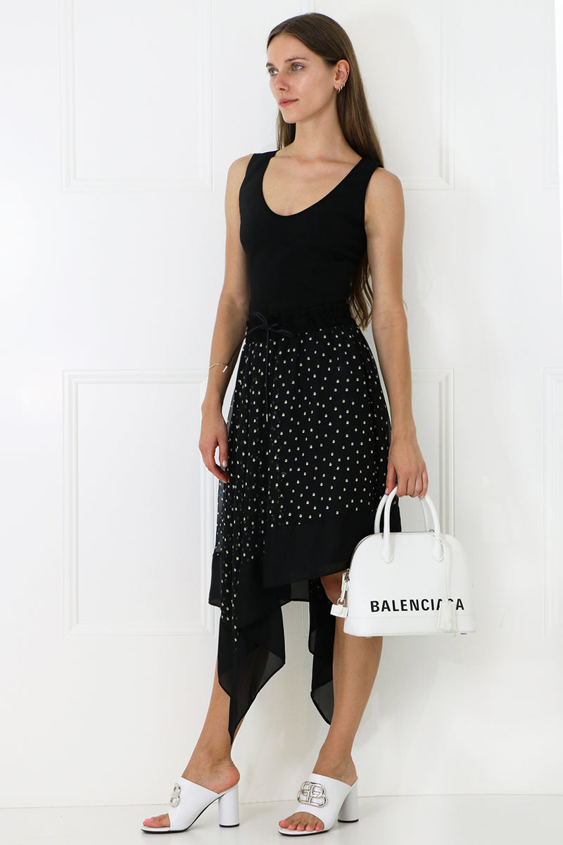 ASYMMETRIC POLKADOT SKIRT BLACK
