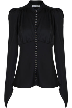 STUDDED CORSET TOP L/S BLACK