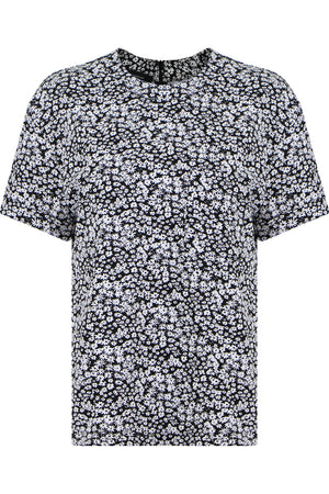 FLOWER PRINT TOP S/S BLACK/WHITE
