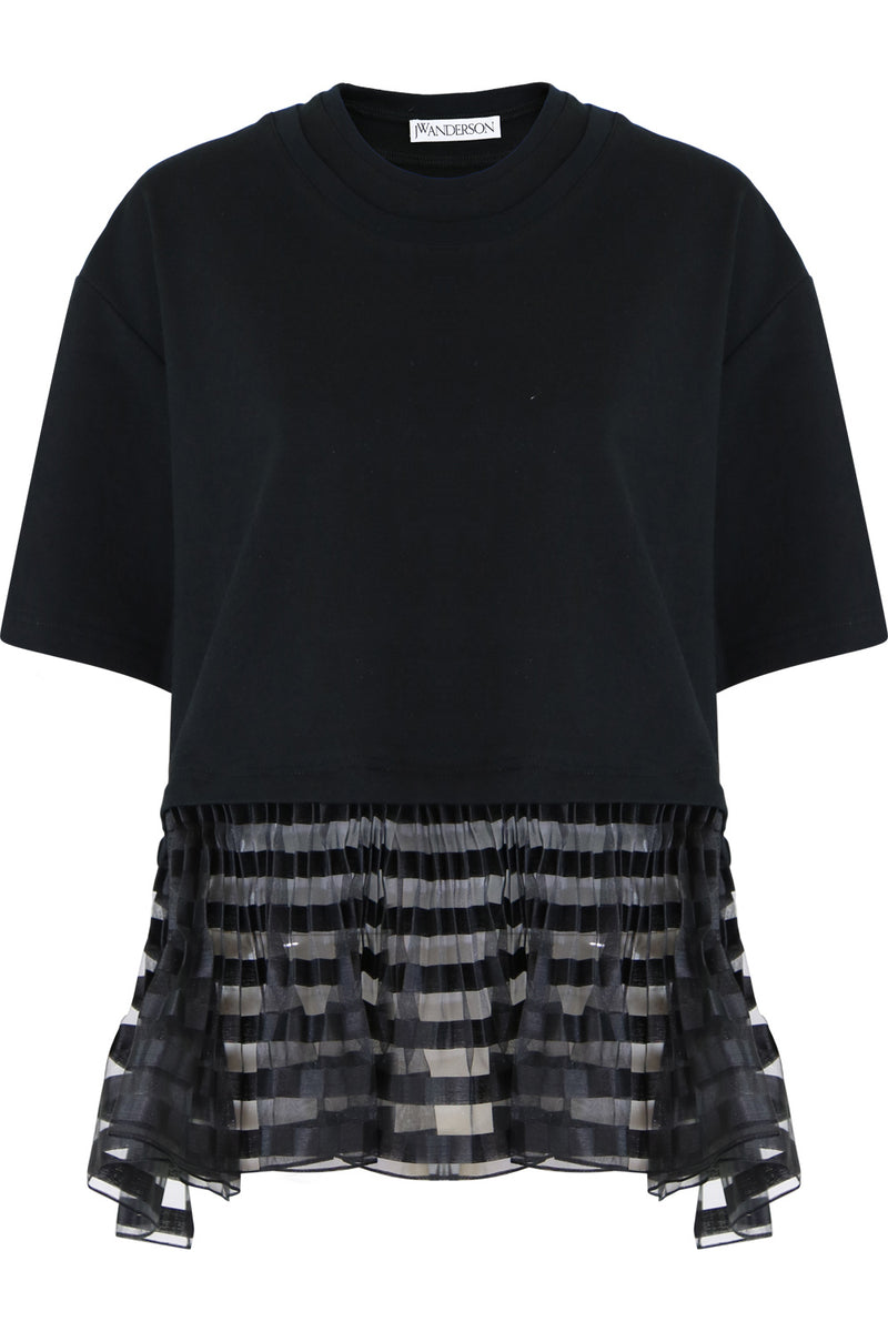 DOUBLE LAYER T-SHIRT WITH PLEATED HEM S/S BLACK