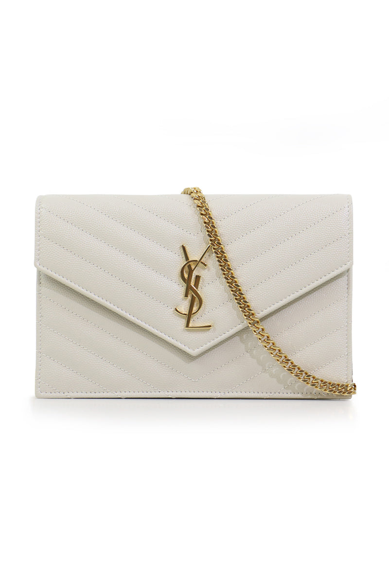 MONOGRAMME ENVELOPE QUILTED CHAIN WALLET CREMA SOFT/GOLD