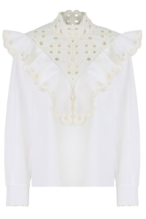 HIGH NECK EMBROIDERED BLOUSE L/S WHITE