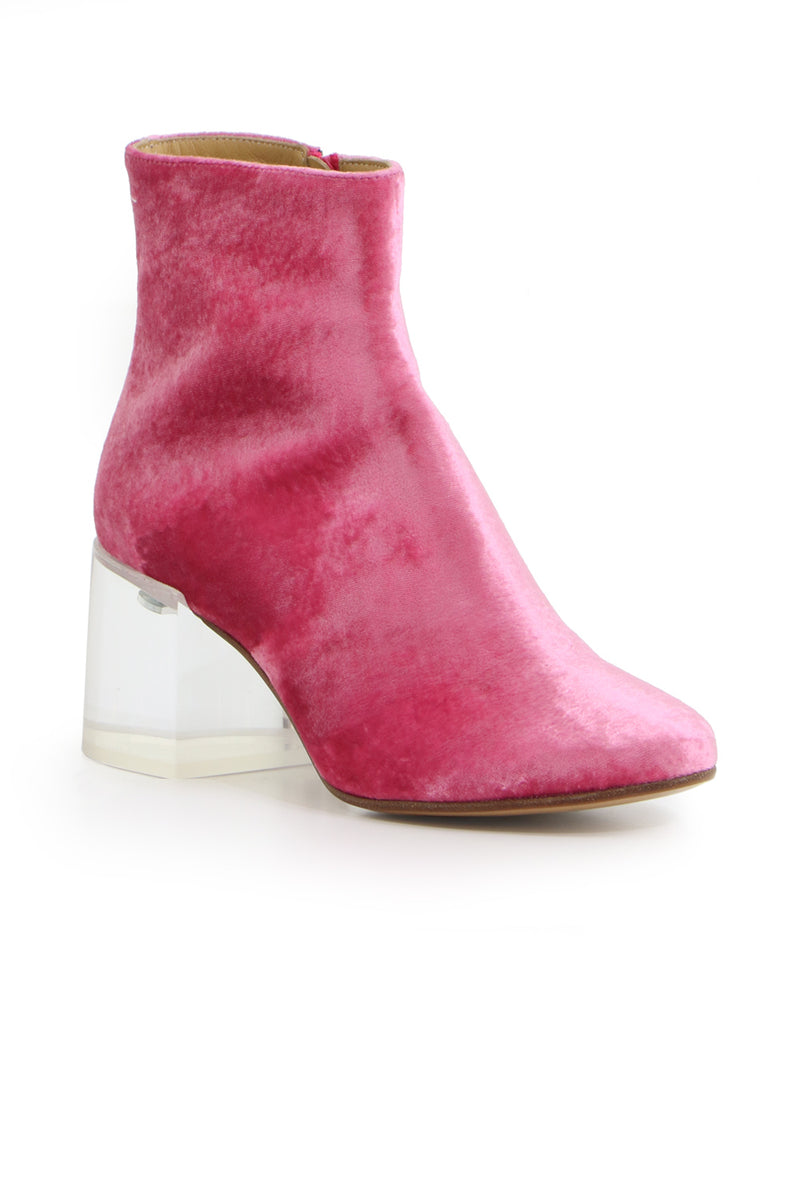 VELVET BOOT WITH TRANSPARANT HEEL 60MM ROSE