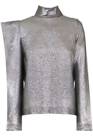 HIGH NECK METALLIC BLOUSE L/S SILVER