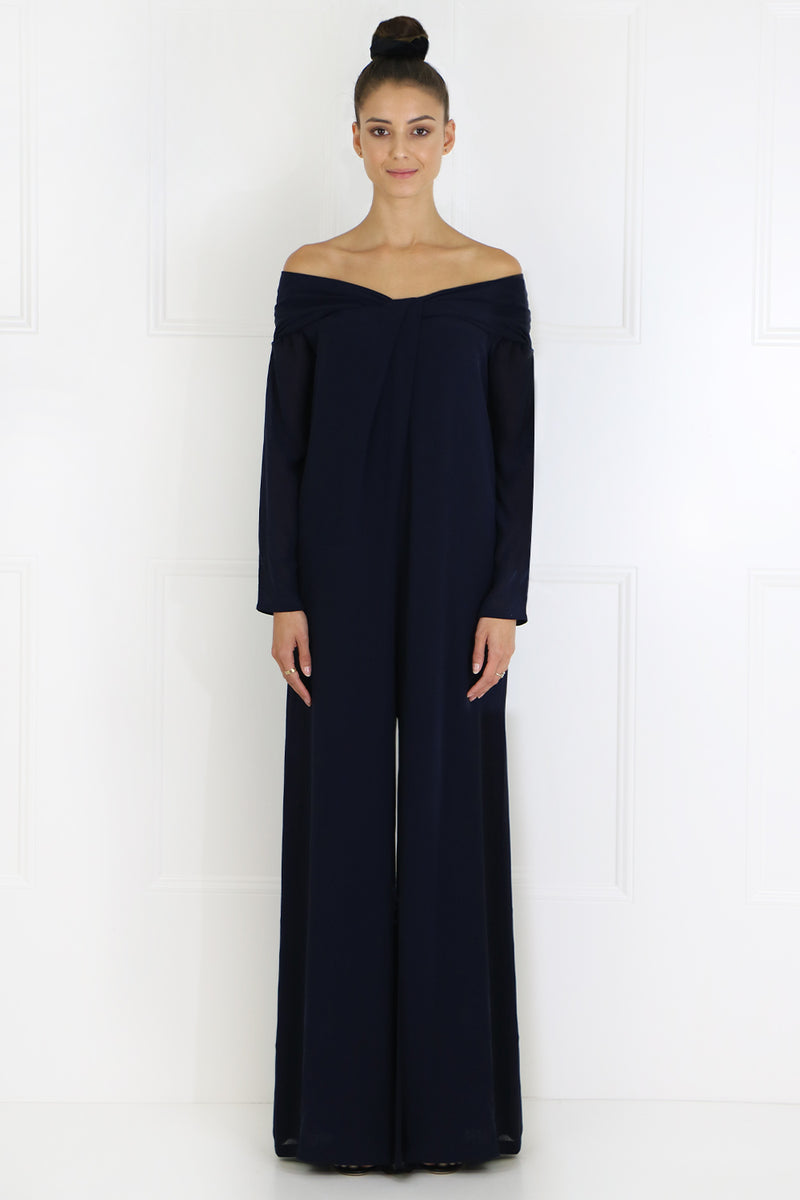 OFF SHOULDER DAISY JUMPSUIT L/S NAVY