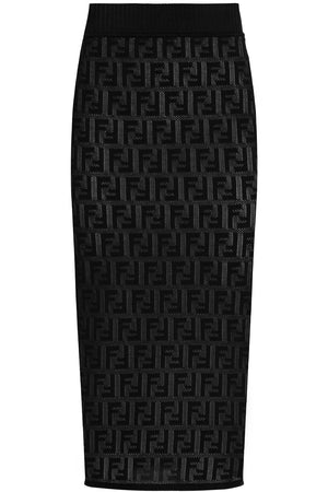 LOGO KNIT PENCIL SKIRT BLACK
