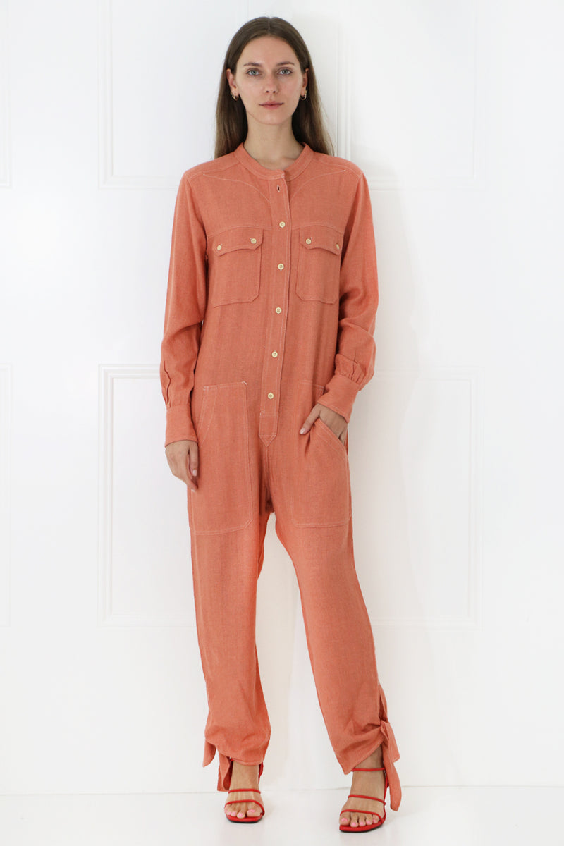 TACACIA RELAXED JUMPSUIT L/S PAPAYA