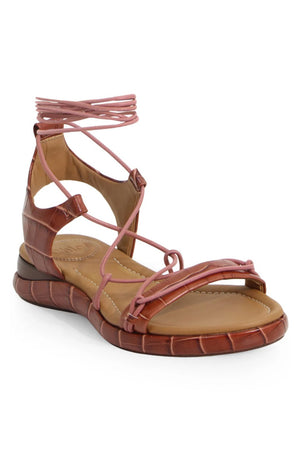 WAVE CROC EMBOSSED SANDAL ROSE BROWN