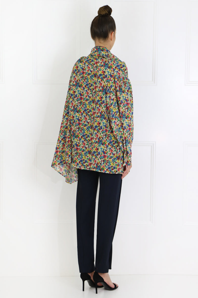 ABSTRACT FLORAL DRAPE SHIRT L/S YELLOW