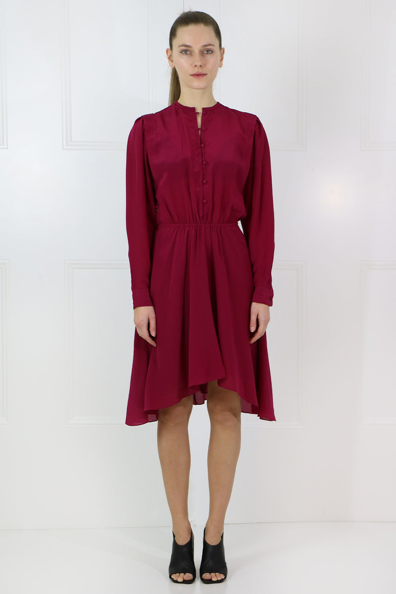 ETOILE YANDRA L/S BUTTONED DRESS RASPBERRY