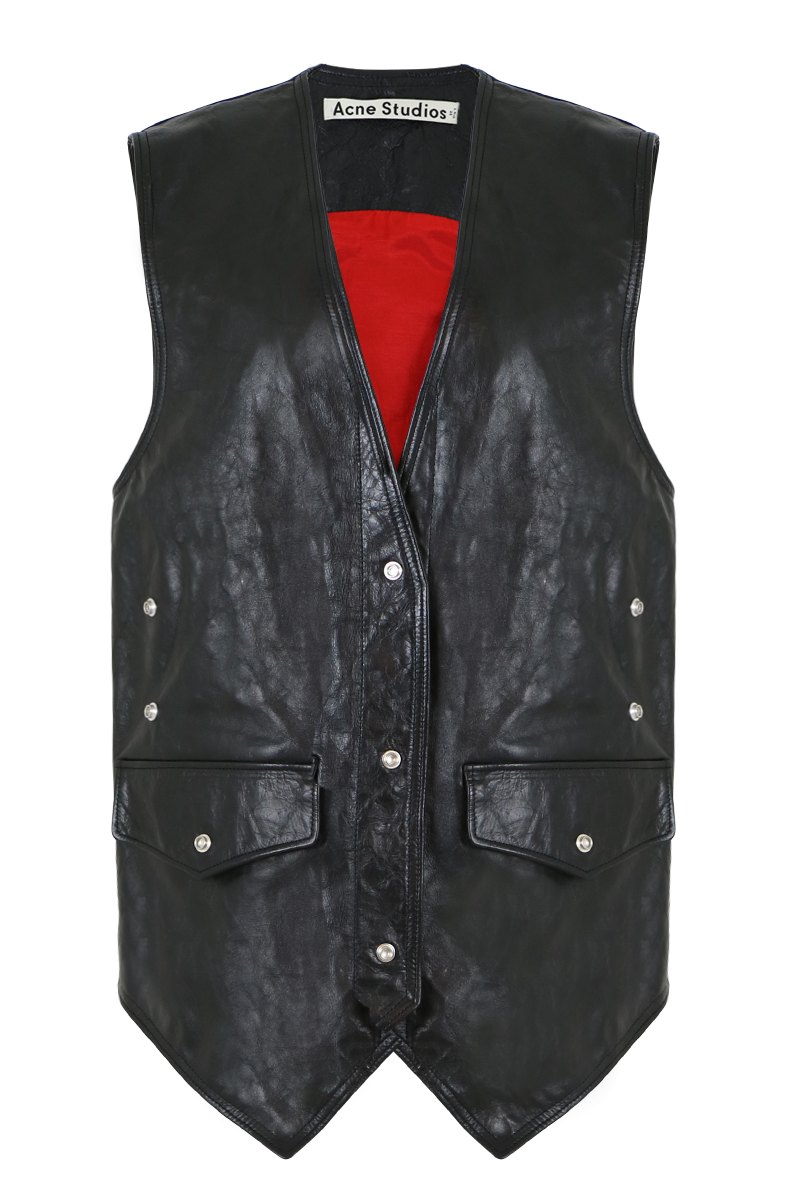 CARLETTA LEATHER VEST BLACK