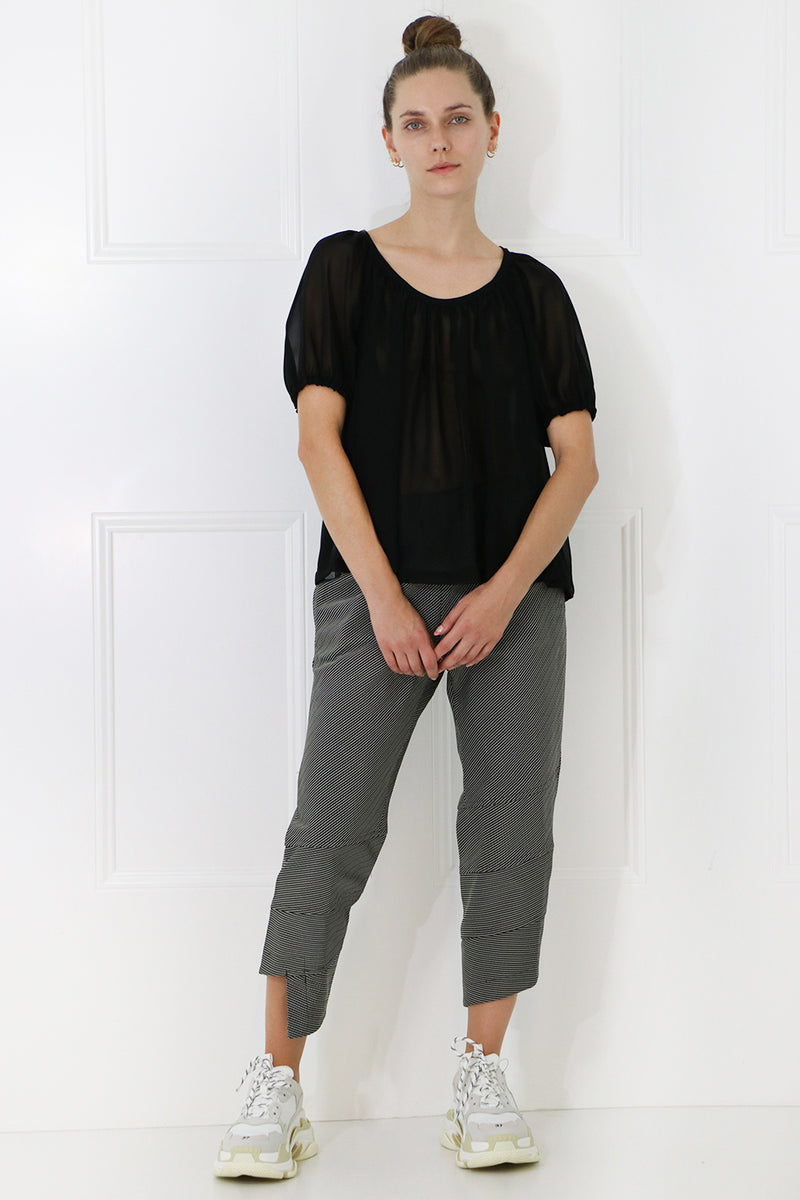 HERRINGBONE CROP PANT BLACK/WHITE