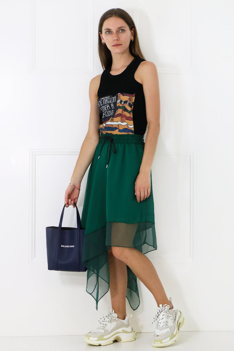 ASYMMETRIC SATIN SKIRT GREEN