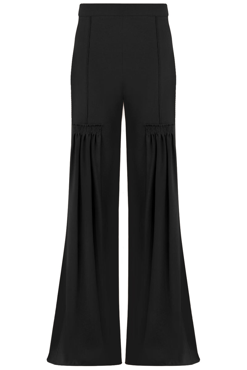 FLARED PANTS WITH FRONT PLEAT BLACK