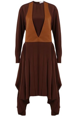 V-NECK DRAPED DRESS L/S OBSURE BROWN