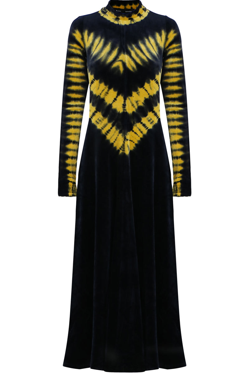 TIE DYE VELVET DRESS L/S BLACK/GOLD