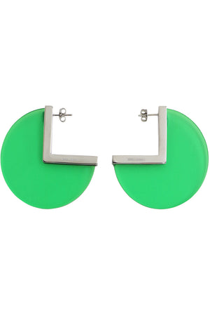 CIRCULAR DISC EARRINGS GREEN