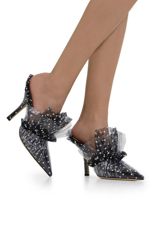 POLKADOT MULE HEEL 100MM BLACK