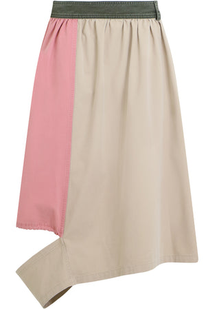 CONTRAST PANEL SKIRT FLAX/PINK