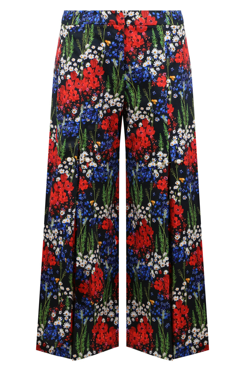 BENNIE  POPPY MEADOW PRINT CULOTTES NAVY