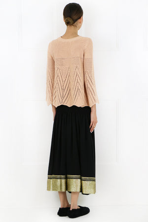TEXTURED LUREX MAXI SKIRT GOLDEN OCHRE