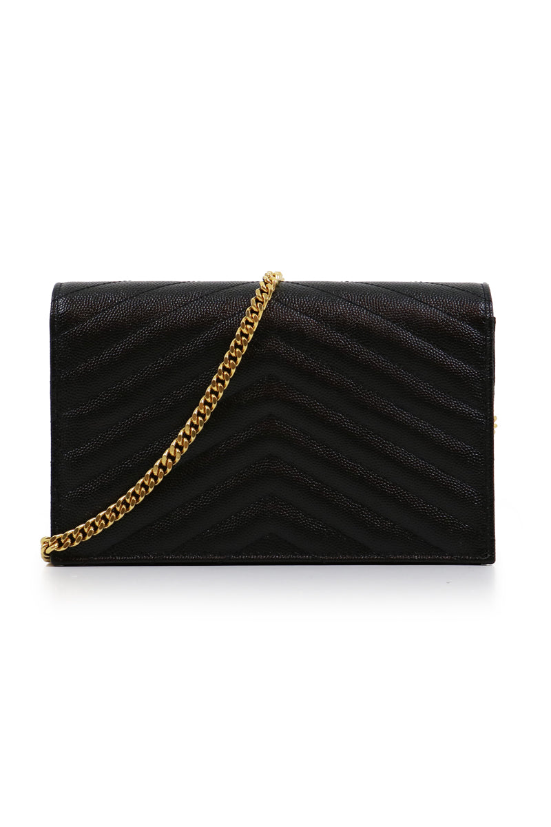 MONOGRAMME ENVELOPE QUILTED CHAIN WALLET BLACK/GOLD
